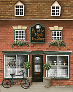 Primitive Art Prints - Auntie Maes Tea Shop Print by Catherine Holman
