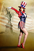 Flag Of Usa Prints - Aunty Sam Wants You Print by Julie L Hoddinott
