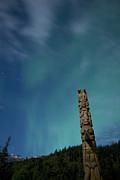 Aurora Above Totem Pole Print by Yuichi Takasaka