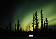 All-star Framed Prints - Aurora Borealis Above Tent At Night, Fairbanks, Alaska Framed Print by Steven Nourse