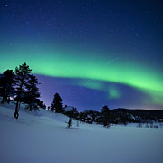 Nordic Countries Prints - Aurora Borealis And A Shooting Star Print by Arild Heitmann