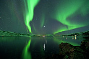 Reflection In Water Posters - Aurora Borealis Poster by Bernt Olsen