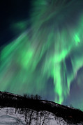 Winter Night Photo Prints - Aurora Borealis Corona Print by John Hemmingsen