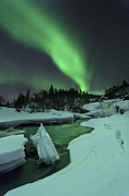 Green Energy Framed Prints - Aurora Borealis Over A Frozen Tennevik Framed Print by Arild Heitmann