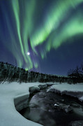 Natural Phenomenon Prints - Aurora Borealis Over Blafjellelva River Print by Arild Heitmann