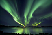 Water Reflection Posters - Aurora Borealis Over Tjeldsundet Poster by Arild Heitmann