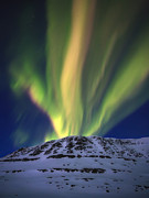 Mountain Weather Framed Prints - Aurora Borealis Over Toviktinden Framed Print by Arild Heitmann