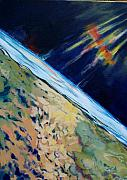 Outer Space Painting Originals - Aurora over Antartica by Patricia Bigelow