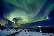 Seven Sisters Photo Prints - Aurora over the road Print by Frank Olsen