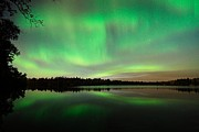 Green Metal Prints - Aurora over Tofte Lake Metal Print by Larry Ricker