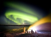 Observer Photo Metal Prints - Aurora Watching, Time-exposure Image Metal Print by Chris Madeley