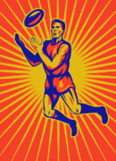 Jumping   Digital Art Posters - Aussie Rules Player Jumping Ball Poster by Aloysius Patrimonio