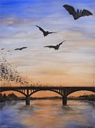 Downtown Austin Posters - Austin Bats Take Flight Poster by Robert Plog