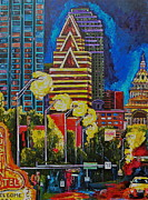 Downtown Austin Framed Prints - Austin City Lights Framed Print by Patti Schermerhorn