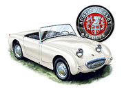 David Kyte Prints - Austin Healey Bug Eye White Print by David Kyte