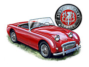 Red Digital Art Posters - Austin Healey Bugeye Sprite Red Poster by David Kyte