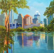 Austin Skyline Art - Austin Morning by Vicki Brevell