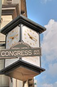 Austin Tx Prints - Austin Street Sign and Clock Print by Sarah Broadmeadow-Thomas