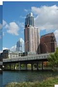 Austin Digital Art Posters - Austin Texas Skyline from Lady Bird Park Poster by Jennifer Holcombe
