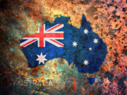 Rust Posters - Australia Flag Map Poster by Michael Tompsett