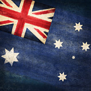 Border Photo Prints - Australia  flag Print by Setsiri Silapasuwanchai