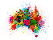 Travel Prints - Australia Paint Splashes Map Print by Michael Tompsett