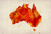 Watercolor  Posters - Australia Watercolor Map Art Print Poster by Michael Tompsett