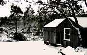 Isolated Digital Art Prints - Australian Alpine Snow Hut Print by Phill Petrovic