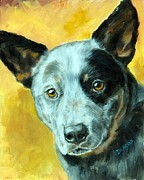 Dog Artist Painting Prints - Australian Cattle Dog Blue Heeler on Gold Print by Dottie Dracos