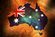 Antique Map Originals - Australian Flag on Rock by Phill Petrovic