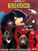 Kelpie Art Prints - Australian Kelpie - Dial M for Murder Movie Poster Print by Sandra Sij