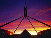 Canberra Posters - Australian Parliament Building at Sunset Poster by Jeremy Woodhouse