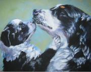 Australian Shepherd Posters - Australian Shepherd Mom and Pup Poster by Lee Ann Shepard