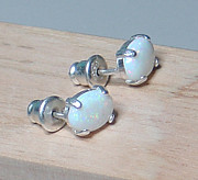 Sterling Silver Earring Jewelry - Australian White Opal Earrings by Robin Copper