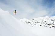 Three-quarter Length Prints - Austria, Kleinwalsertal, Male Skier Jumping Mid-air Print by Westend61