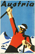 Ski Vacation Posters - Austria Poster by Nomad Art And  Design