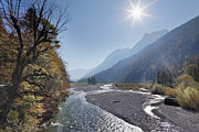 Sun River Prints - Austria, Tyrol, View Of Karwendel Mountains With River Print by Westend61