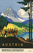 Ski Vacation Posters - Austrian Alps Poster by Nomad Art And  Design