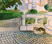 Walking Drawings Prints - Austrian Cat Print by Mindy Newman