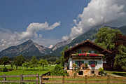 Green Greeting Cards Prints - Austrian Cottage Print by Debra and Dave Vanderlaan