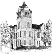 Alabama Drawings Prints - Autauga County Courthouse Print by Barney Hedrick