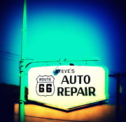 Auto Repair Sign On Route 66 Print by Susanne Van Hulst