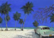 Old Cars Paintings - Auto Sulla Spiaggia by Guido Borelli
