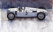 Sports Paintings - Auto Union 1936 Type C by Yuriy  Shevchuk