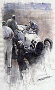 Watercolour Prints - Auto Union B type 1935 Italian GP Monza B Rosermeyer Print by Yuriy  Shevchuk