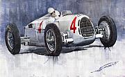 Classic Painting Prints - Auto Union C Type 1937 Monaco GP Hans Stuck Print by Yuriy  Shevchuk