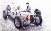 Watercolour Prints - Auto Union C Type V16 B Rosenmeyer Print by Yuriy  Shevchuk