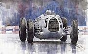Realism Painting Prints - Auto-Union Type C 1936 Print by Yuriy  Shevchuk