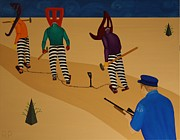Police Paintings - Autoanimation Convicts on a Chain Gang by Rudy Pavlina