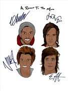 Alternative Rock Group Drawings - Autographed A ROCKET TO THE MOON by Michael Dijamco